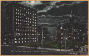 Winnipeg, Manitoba - City Hall and Union Bank of Canada at night