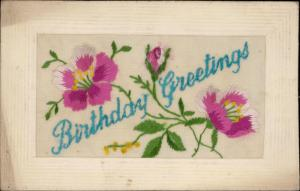 Birthday Greetings Silk flowers embroidered greeting novelty