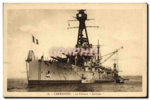 Old Postcard Boat Cherbourg Lorraine armor