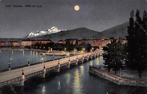 Switzerland Old Vintage Antique Post Card Effet de Nuit Unused