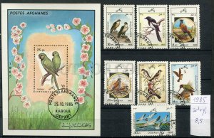 265001 AFGANISTAN 1985 year used set+S/S Birds parrots