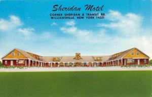 Williamsville New York Sheridan Motel Street View Vintage Postcard K59293