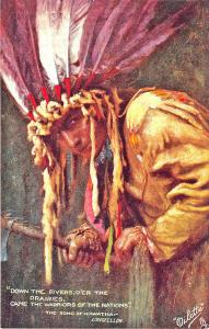 Raphael Tuck Hiawatha Rivers, o'er Prairies Poem Series II Postcard