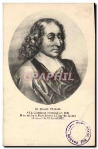 Old Postcard Blaise Pascal in Clermont Ferrand