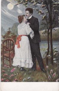 Romantic Couple Under A Full Moon 1909