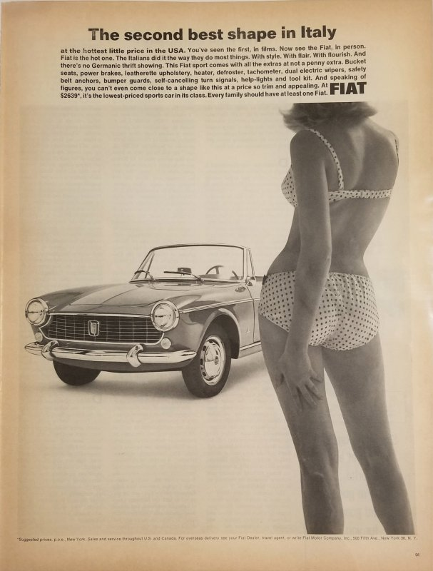 1965 Fiat Auto Life Magazine Original Print Ad with Bikini Model EXL100139