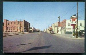 Pecos Texas tx street scene view highway 80 Texaco Oil sign old postcard