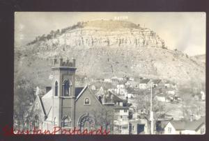 RPPC RATON NEW MEXICO MOUNTAIN CHURCH BIRDSEYE OLD REAL PHOTO POSTCARD NM