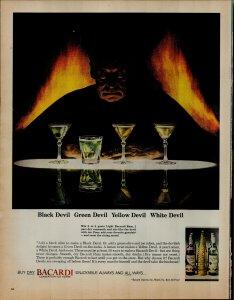 1964 Bacardi Liquior White Devil Green Devil Vintage Print Ad 3571