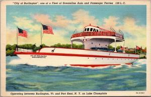 Burlington VT-Port Kent NY~Art Deco Auto & Passenger Ferry~Lake Champlain~1938