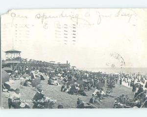 Pre-1907 BEACH SCENE Asbury Park New Jersey NJ A3656
