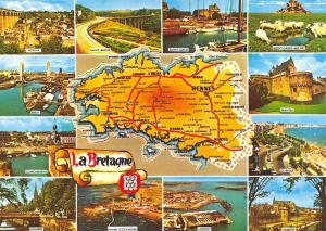 Postcard Map & Multiview Brittany, Bretagne, France B72