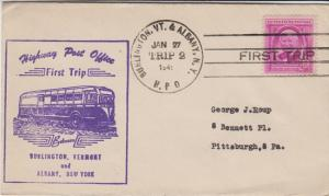 FIRST TRIP HIGHWAY POST OFFICE mail between Burlington, VT & Albany, NY, 1949