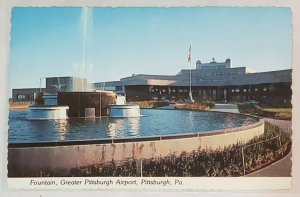 Postcard: Fountain- Greater Pittsburgh Airport-flag + entrance.
