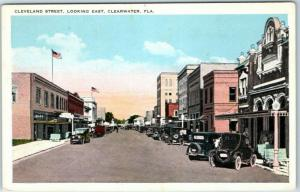 Clearwater, FL Postcard CLEVELAND STREET, Looking East Downtown Scene c1930s