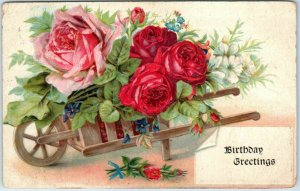 Vintage BIRTHDAY Embossed Postcard Wheelbarrow w/ Red & Pink Roses 1910 Cancel