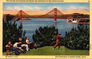California San Francisco Golden Gate Bridge Toward Marin Shore
