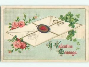 Pre-Linen valentine ENVELOPE WITH PINK ROSE FLOWERS AND LUCKY CLOVER J0660