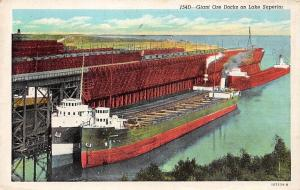 Minn. Duluth Giant Ore Docks on Lake Superior, Cargo Ships, Freighters