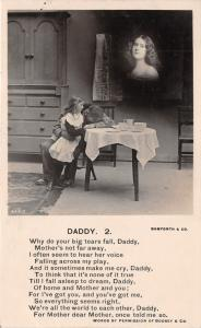 Daddy Postcard Series~1-2-3-4 Poems~Father Daughter @ Table~Bamforth & Co RPPC