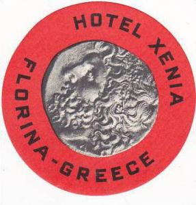 GREECE FLORINA HOTEL XENIA VINTAGE LUGGAGE LABEL