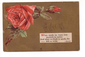 Red Rose, Gold Background, Herrick Couplet