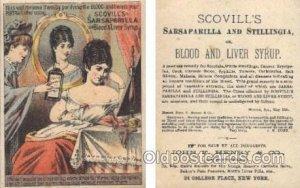 Scovills Sarsaparilla & Stillingia Trade Card Approx Size Inches = 3 x 4 Unused