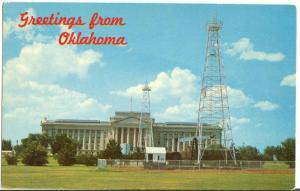 Greetings from Oklahoma, State Capitol, unused Postcard