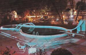 Night View of Heated Swimmimg Pool, The Brooksdale Park Inn, Barrie, Ontario,...
