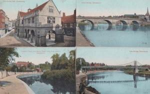 Shrewsbury Council House Bridge 4x Antique Postcard s