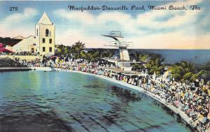 Miami Beach Florida~Macfadden-Deauville Pool~Large Crowd along Pool~1940s Pc