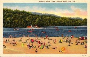 New York Lake Luzerne Bathing Beach Curteich