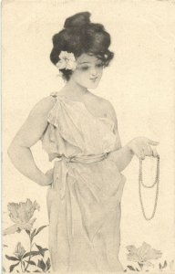 PC CPA KIRCHNER ARTIST SIGNED LADY HOLDING A NECKLACE ART NOUVEAU G2-1 (b2651)