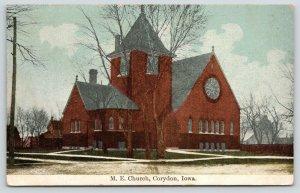 Corydon Iowa~Methodist Episcopal ME Church~Houses~Barn Behind~1911 Postcard