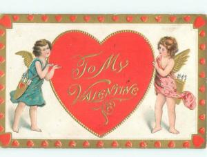 Pre-Linen Valentine CUPIDS WITH LARGE HEART AB3164
