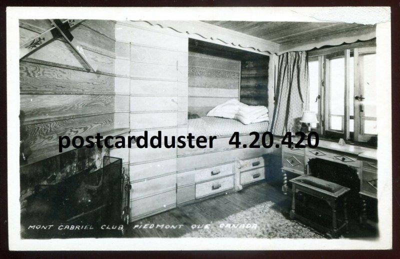 420 - PIEDMONT Quebec 1940s Mont Gabriel Club Interior. Real Photo Postcard