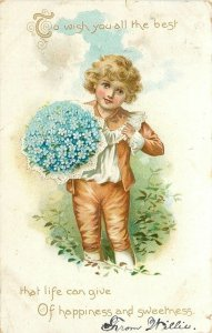Lil Blonde Boy~Big Bouquet Of Blue Forget-Me-Nots~Lace Trim On Suit~Emboss~TUCK