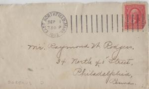 EAST NORTHFIELD MASS - Small Envelope with DOREMUS CANCEL - 1903