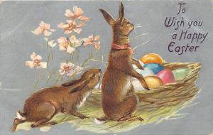 Embossed Easter Greetings~Bunny Rabbits Sniff Colored Eggs in Basket~1908 TUCK