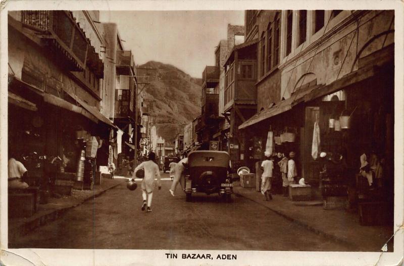Yemen Aden Tin Bazaar Street Vintage Car Postcard