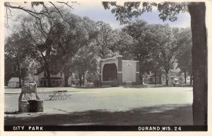 Durand WI Colorized RPPC City Park Bandshell~Picnic Table~Stone Grill 1940s