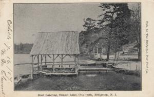 BRIDGETON , New Jersey , 1907 ; Boat Landing , Sunset Lake , City Park