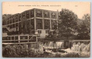 Fitchburg Massachusetts~Dam & Overflow~Crocker Burbank Paper Mill~1930s