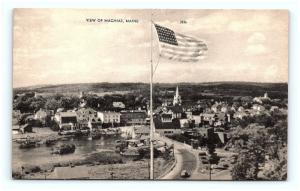 Postcard ME Machias Airview of Town Vintage Linen G10