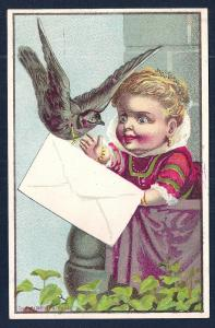 VICTORIAN TRADE CARD Girl Bird & Envelope