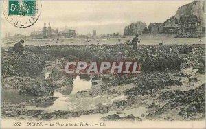 Old Postcard Dieppe beach Taking Rochers