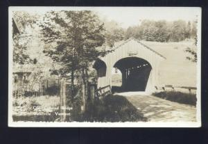 RPPC WATERVILLE VERMONT OLD COVERED BRIDGE VINTAGE REAL PHOTO POSTCARD