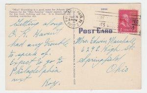 P2135, 1952 postcard tour boat people miss atlantic cirt NJ in ocean, shoreline