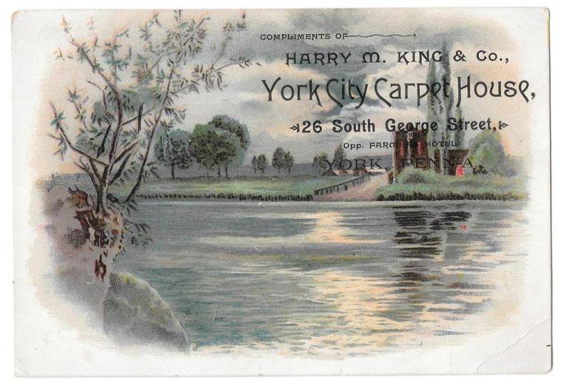 York PA Victorian Trade Card City Carpet House Harry M King