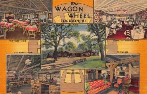 The Wagon Wheel, Rockton, Illinois, Early Linen Postcard, Used in 1952
